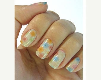 On Sale flower nail stickers decals nail art water decals, Nail Water Decals Transfers Wraps