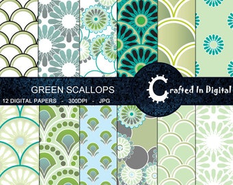 Green Scallops & Flowers - Digital Paper Collection 12x12