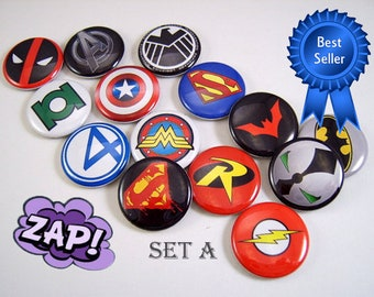 "Superhero Pins, Magnets or Flat Back Buttons, 1 inch, 1.25 inch, 2.25"" inch, Choose your Design, Superhero Logos, Party Favors"