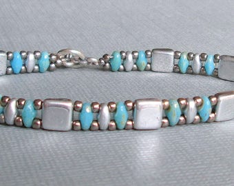 silver turquoise bracelet, superduo bracelet, native american bracelet,  bead bracelet, boho chic bracelet, gift for her, tribal bracelet