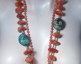 Chunky Long Necklace, Multi Strand Necklace, Botswana Agate, Turquoise Nuggets, .925 Sterling Silver Toggle Clasp