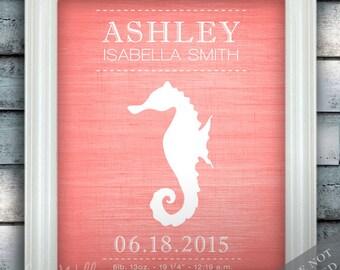 Seahorse - Wall Decor - Nautical Nursery Art - Birth Announcement - Baby Nursery - Ocean Under the Sea - Newborn Gift - Art Print or Canvas