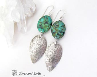African Turquoise Earrings, Sterling Silver Earrings, Handmade Silver & Stone Jewelry, Natural Stone Earrings, Organic Earthy Silver Jewelry