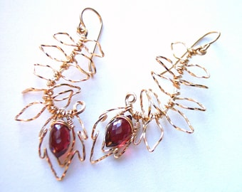 AAA Garnet Earrings, Feathery Gold Earrings, Gift for Her, Holiday Jewelry, Blood Red Garnets, January Birthstone, Stocking Stuffer Gift