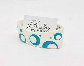 Open Circle Business Card Holder. Dot. Circle. Swirl. Bubble. Business. Card. Handmade by Sara Hunter Designs.