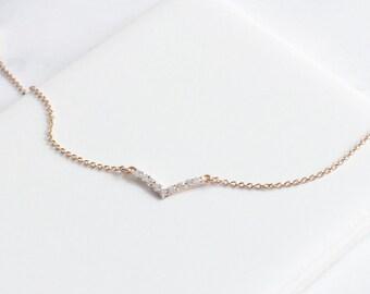 Rose Gold V Bracelet,  Crystal V Bracelet, Dainty & Simple