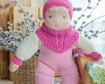 Waldorf baby doll 11 inches Pink and Ivory colour Steiner doll Soft body Bunting doll for toddler Textile doll Gift for toddlers