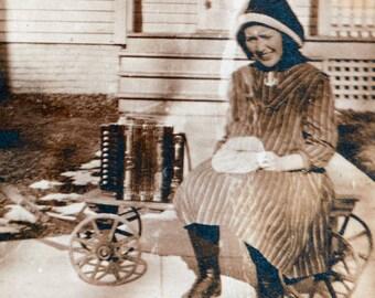 Boy Pulls Girl on Wagon w Accordian 1909