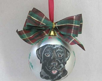 "Hand-Painted LABRADOR RETRIEVER Black 3"" Christmas Ball Ornament GORGEOUS! choose silver or red"