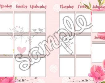 Blossom Garden Planner Insert and Sticker Printable Set