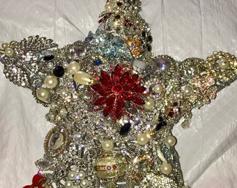 Rhinestone and Crystal Star Tree Topper