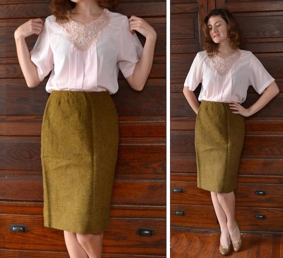 Olive Branch Skirt | vintage 50's moss green Bernhard Altmann wool skirt