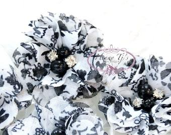 "NEW: 4pcs Aubrey White Black Florals Patterned w/ black pearls - 2"" Soft Chiffon w/ pearls rhinestones Mesh Layered Small Fabric Flowers"