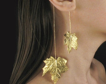 Statement gold earcuff, statement ear cuff, maple leaf earrings, art jewelry, gift for woman