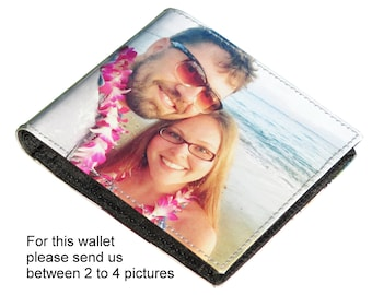 Extra LARGE custom wallet for men made using pictures from you - FREE SHIPPING - customized name initials wallets purse father's daddy gifts