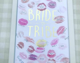 Bride Tribe - Lipstick Kiss Miss Frame - Great Alternative to Hen  Party Gift Book - Bachelorette