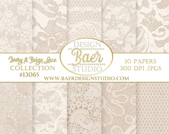 DIGITAL PAPER PACK:Taupe and Ivory Lace Digital Paper,Spitze, Hochzeitseinladung, Digital Paper Lace, Wedding Digital Paper, #13065