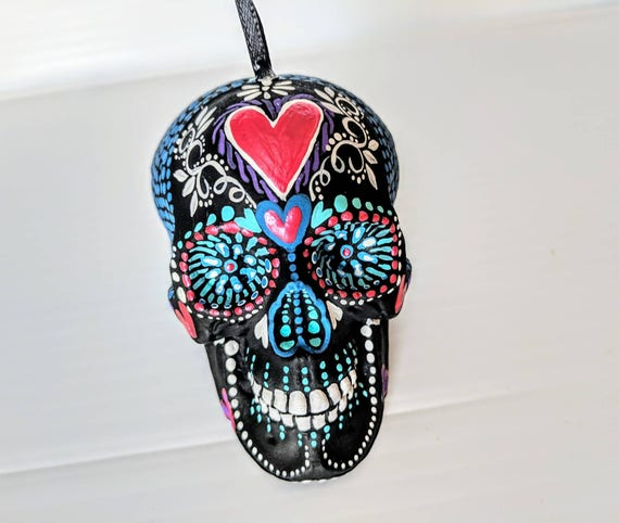Skull ornament hand painted shatterproof Ornament sugar skull day of the dead Christmas ornaments