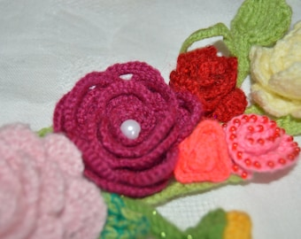 Crocheted Flower Lariat Necklace, Flower collar