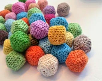 set of hexagonal wooden crochet beads / 35mm