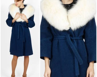 Vintage 1960's Blue Wool Belted Jacket with Oversized Foxy Fur Collar by the Parisian   Medium
