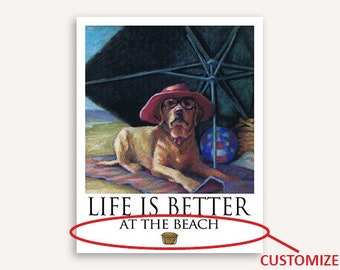 Yellow Lab Life Is Better On Nantucket Poster of Labrador Retriever Under Beach Umbrella