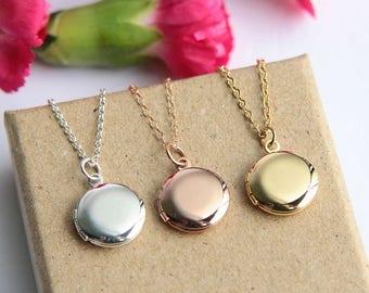 Children's Locket Necklace, Locket Necklace, Tiny Locket Necklace, Mini Locket Pendant, Flower Girl Necklace, Wedding Gift, Christmas Gift
