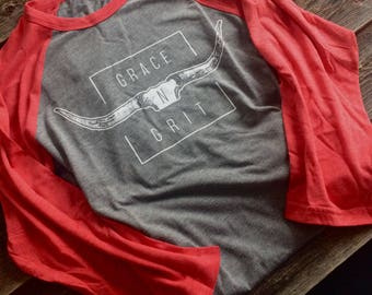 Baseball shirt-Grey/red sleeves
