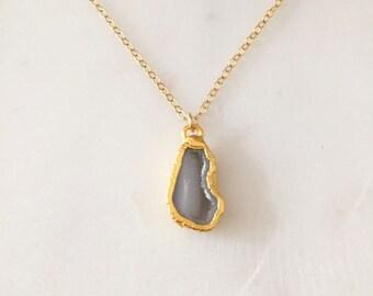 Gold Druzy Halskette / Druzy Halskette / Handarbeit
