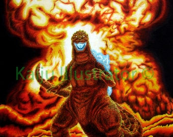 """Godzilla In City of Flames Poster print 8 1/2""""x11"""""""