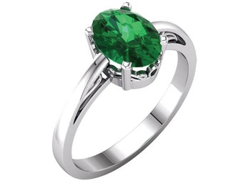 Emerald Ring Gold / 14K White Gold Ring Vintage Style / Antique Style Sapphire Ring
