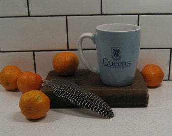 BOGO 40% OFF // Vintage Queen's University Mug - Coat of Arms - Blue & White - Kingston University - Glazed ceramic - made in China