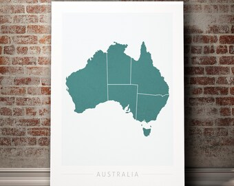 australia map country map of australia art print watercolor illustration wall art home decor gift colour prints