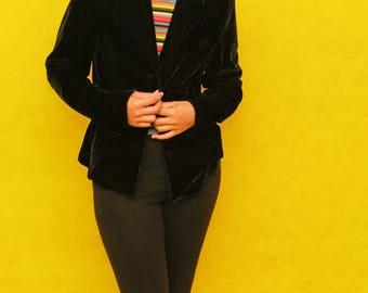 Vintage Black Velvet Long Sleeve Button Up Blazer