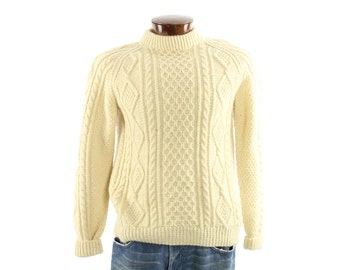 Vintage 70s Wool Sweater Irish Fishermans Cable Knit Ivory Pullover Sweater Mens Fall Winter Fashion 1970s Large L Hollim Handweave
