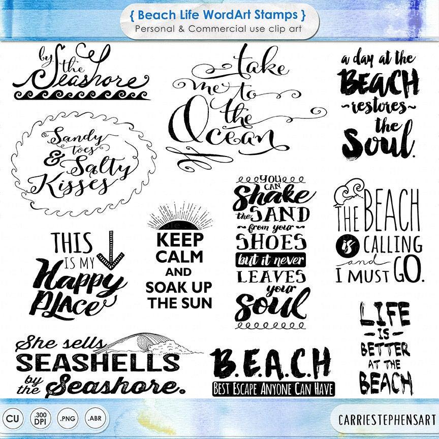 Beach Typography Word Art Summer Inspirational Quote Digital