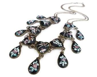 Persian Enamel Necklace, Hand Painted, Heart Shape, Teardrop Shape, Bird Flower, Black Enamel, Vintage Necklace, Ethnic Jewelry