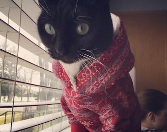 Red Fair Isle Cat Hoodie-Cat Hoodie-Red Christmas Cat Sweater-Red Cat Sweatshirt-Red Cat Hoodie-Cat Shirts-Christmas Cat Shirts-Cat Sweaters