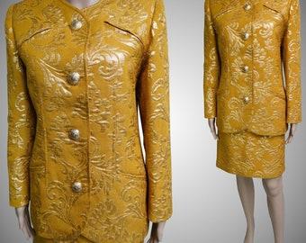 Vintage Valentino Suit//Valentino Suit//Gold Brocade//Designer//1980 Valentino Suit//1980s//