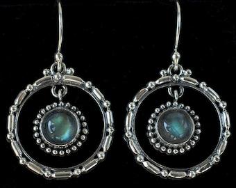 Silver Labradorite Hoop Earrings, Sterling Silver Labradorite Earrings, Labradorite Balinese Earrings, Round Labradorite Earrings: UNITY