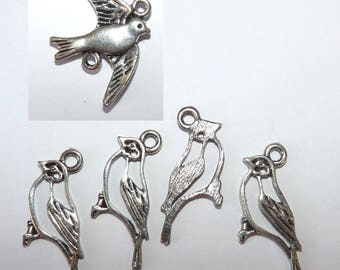 Set of 5 bird Robin pendant connector swallow charms Dove 3 CMS for summer jewelry