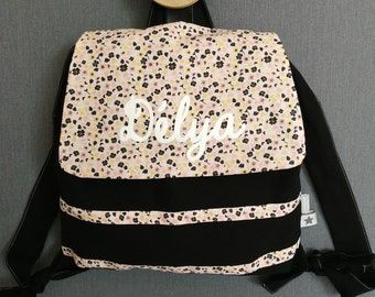 Customizable backpack print and black rose flower powder