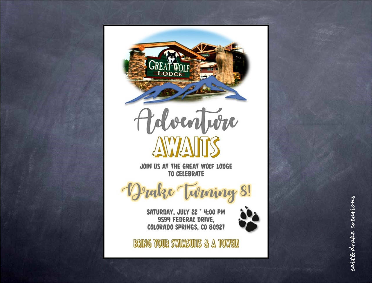 Great Wolf Lodge Birthday Party Invitation Digital Printable