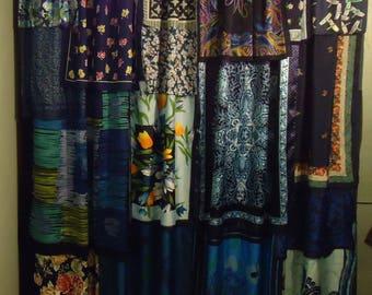 "Shades of Midnight Blue Gypsy, Boho Curtains - 85"" long"