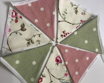 Handmade Double Sided Shabby Chic Fabric Bunting 7 Flags