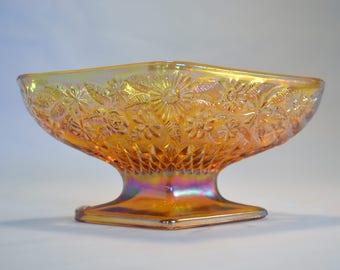 Diamond Shape Compote Amber Carnival Glass