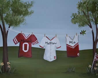 Personalized Clothesline Painting 8 x 10 Sports Fan/ Personalized Wall Art