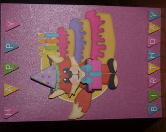 RELIEF THEME 'BIRTHDAY FOX' CARD