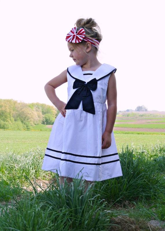 Nautical Sailor dress white navy blue dress Navy sailor