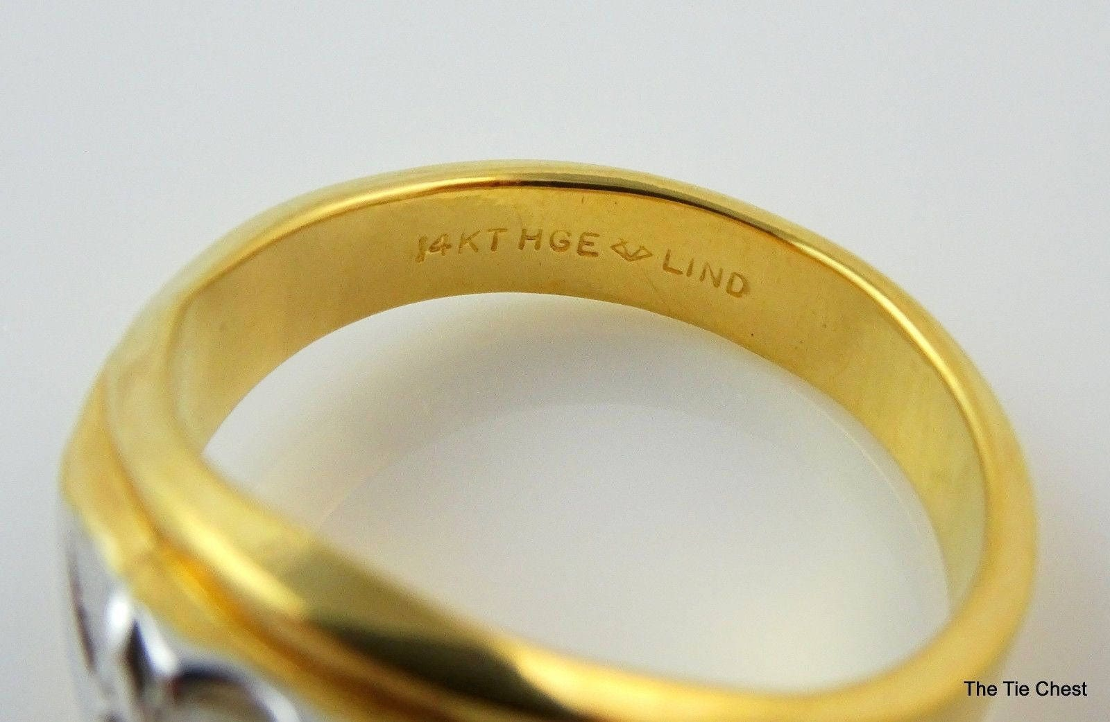 Perfect Mens Ring Size 13 14KT HGE Lind Two Tone Costume Jewelry VY43